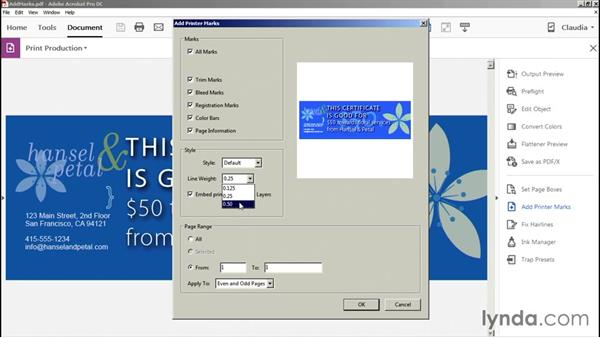 Adding printer marks: Preflight and Print Production with Acrobat