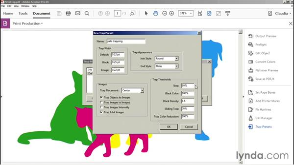 Setting trap preset options: Preflight and Print Production with Acrobat