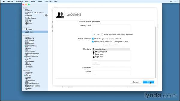 Managing groups: OS X Server Essential Training: Yosemite Edition