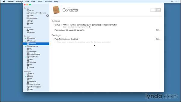 Hosting server-based contacts: OS X Server Essential Training: Yosemite Edition