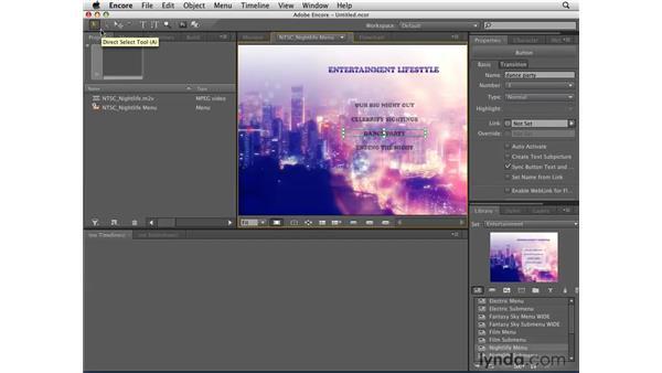Adding a menu to a project: Encore CS4 Essential Training