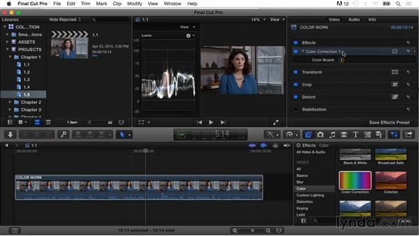 Evaluating a shot with video scopes and fixing contrast: Final Cut Pro X Guru: Color Correction