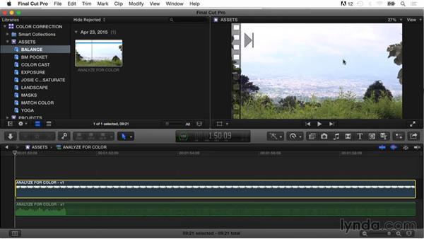 Applying white balance to analyzed clips: Final Cut Pro X Guru: Color Correction