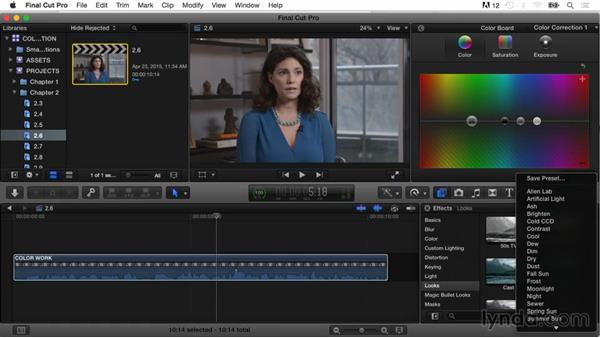 Saving color board presets and effect presets: Final Cut Pro X Guru: Color Correction