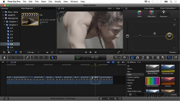 Using auditions to compare effects: Final Cut Pro X Guru: Color Correction