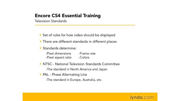 About television standards: Encore CS4 Essential Training