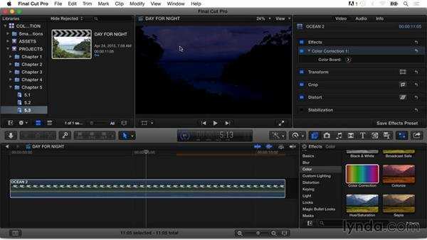 Creating a day for night effect: Final Cut Pro X Guru: Color Correction