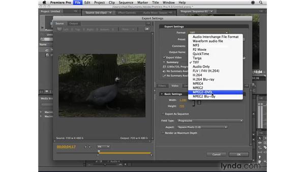 Exporting video for Encore: Encore CS4 Essential Training