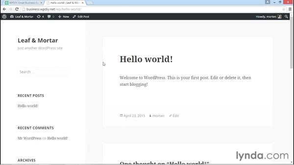 Adding key content to the site: WordPress DIY: Small Business Website