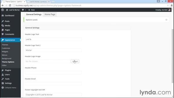 Configuring theme options: WordPress DIY: Small Business Website
