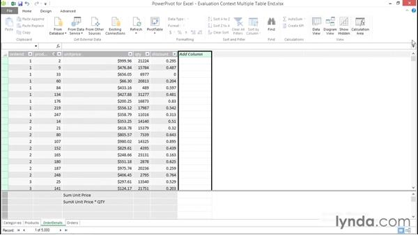 Understanding multiple table evaluation context: Excel Power Pivot DAX in Depth
