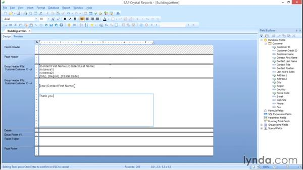 Create the letter: Crystal Reports 2013: Linking, Nulls, and Letter Writing