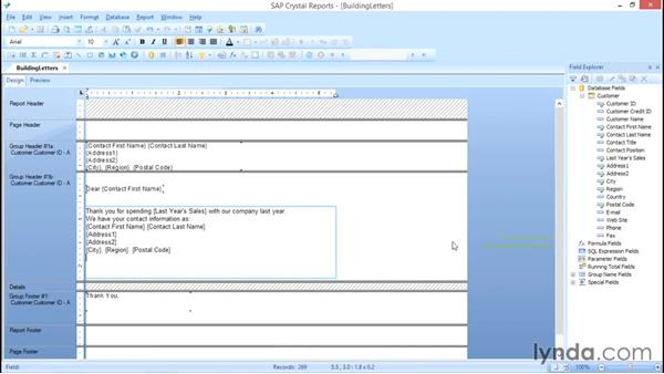 Add the custom fields: Crystal Reports 2013: Linking, Nulls, and Letter Writing