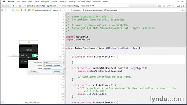 Using control events: Developing for Apple Watch First Look