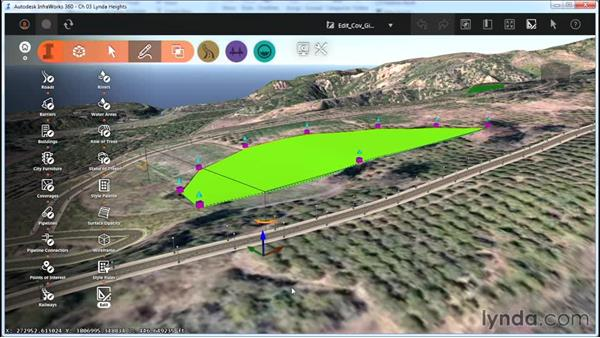 Editing coverages with gizmos: InfraWorks Essential Training