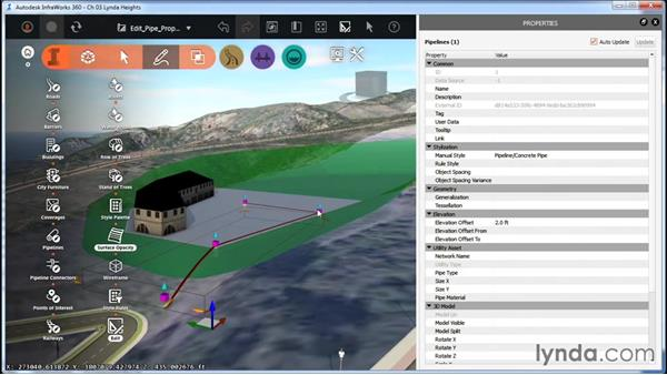 Editing pipeline and pipeline connector properties: InfraWorks Essential Training