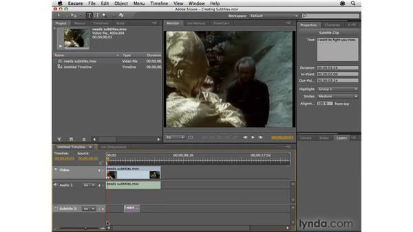 Creating subtitle tracks: Encore CS4 Essential Training