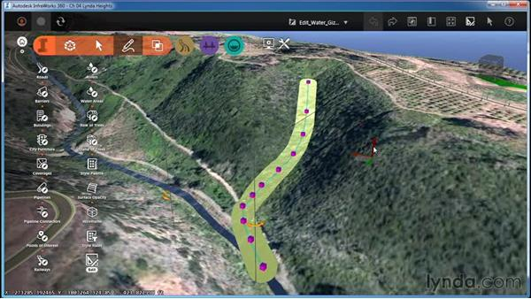 Editing water features with gizmos: InfraWorks Essential Training