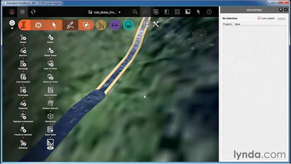 Editing water feature properties: InfraWorks Essential Training