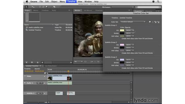 Creating subtitles with multiple colors: Encore CS4 Essential Training