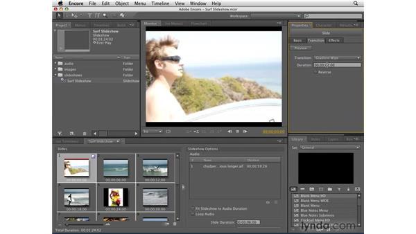 Adding transitions to slides: Encore CS4 Essential Training