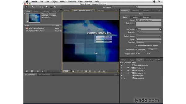 Creating a video menu: Encore CS4 Essential Training