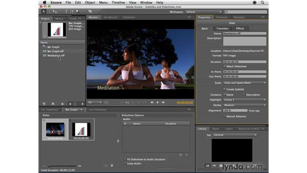 Using subtitles with slideshows: Encore CS4 Essential Training