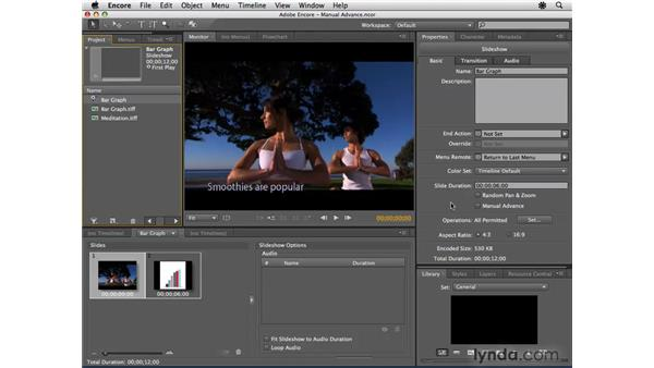 Creating slideshows with manual advance: Encore CS4 Essential Training