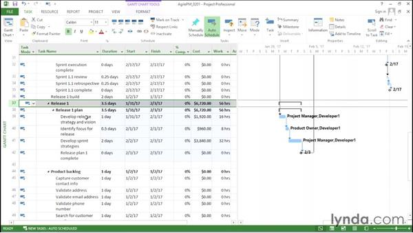 Setting up tasks for project initiation and releases: Agile Project Management with Microsoft Project