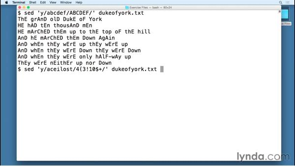 "Performing transformations with ""y"": SED Essential Training"