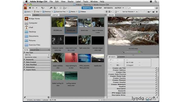 Using Adobe Bridge to browse for assets: Encore CS4 Essential Training