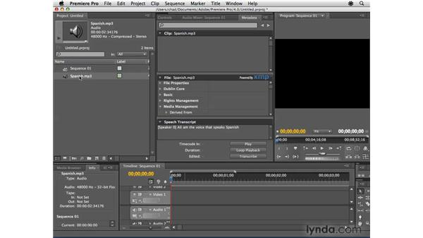 Using Speech Search in Premiere to help create subtitles: Encore CS4 Essential Training