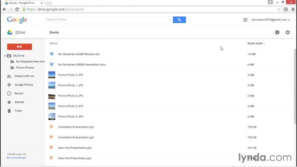 Purchasing more storage space: Google Drive Essential Training