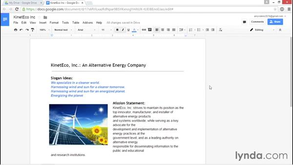 Making and working with suggested edits: Google Drive Essential Training (2015)