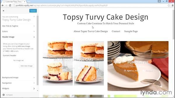 Customizing the theme: WordPress DIY: Freelance/Independent Website