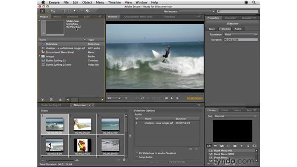 Creating a slideshow: Encore CS4 Essential Training