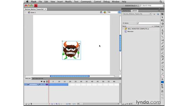 Reviewing motion tweens: Flash CS4 Professional Tools for Character Animation