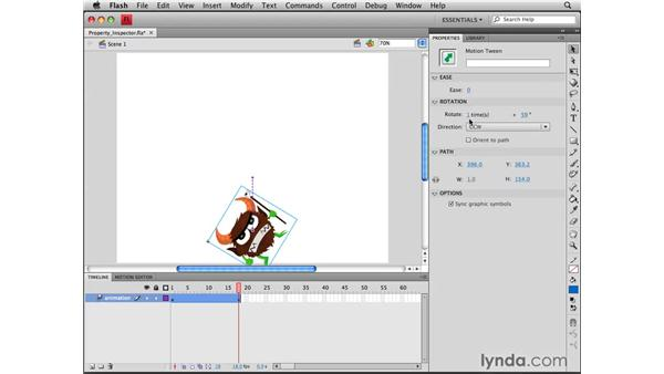 Adjusting motion tweens in the Property Inspector: Flash CS4 Professional Tools for Character Animation