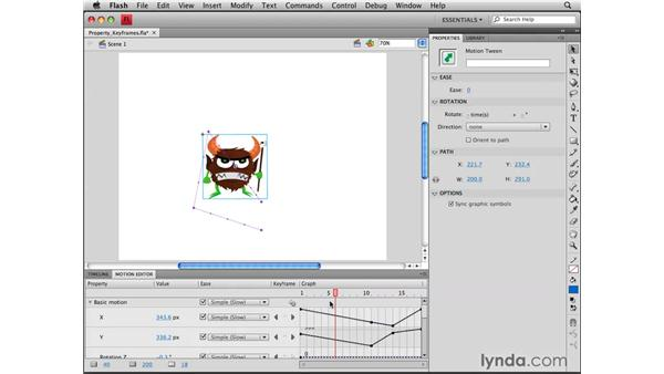 Working property keyframes: Flash CS4 Professional Tools for Character Animation