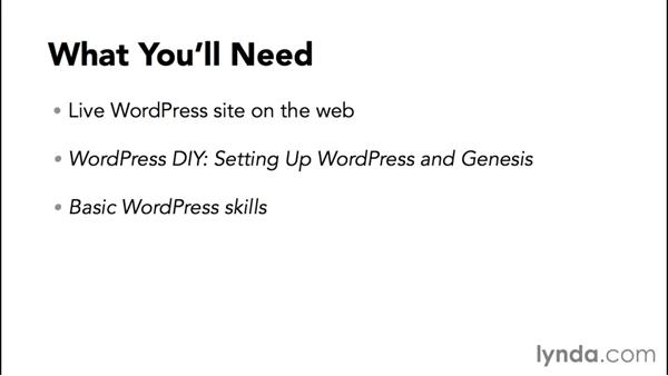 What you'll need to follow this course: WordPress and Genesis DIY: Freelance/Independent Website