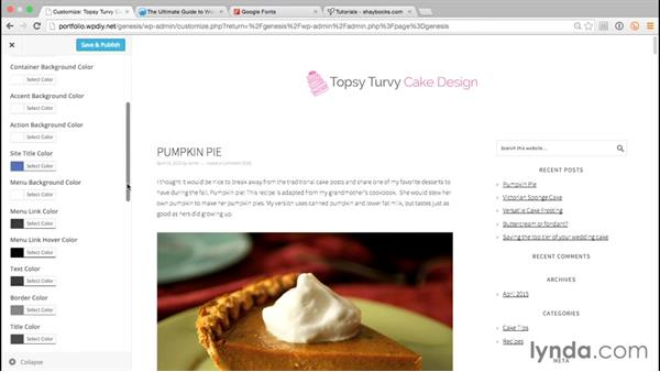 Configuring basic theme settings: WordPress and Genesis DIY: Freelance/Independent Website