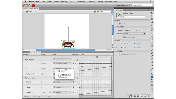 Squashing and stretching with custom easing: Flash CS4 Professional Tools for Character Animation