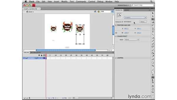 Randomizing animations with graphic symbols: Flash CS4 Professional Tools for Character Animation