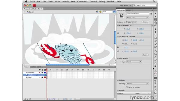 Adding a perspective shadow: Flash CS4 Professional Tools for Character Animation