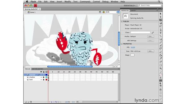 Syncing audio: Flash CS4 Professional Tools for Character Animation