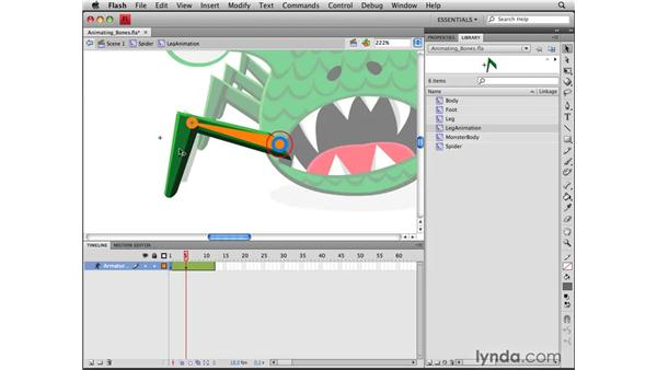 Animating a bone system: Flash CS4 Professional Tools for Character Animation