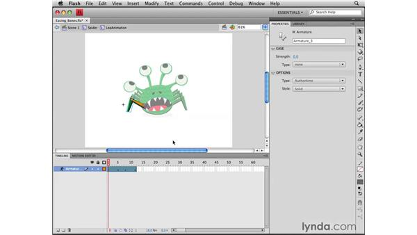 Adding easing to an armature animation: Flash CS4 Professional Tools for Character Animation