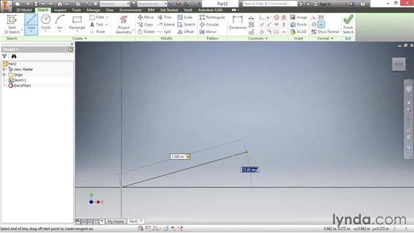 Drawing lines: Inventor 2016 Essential Training