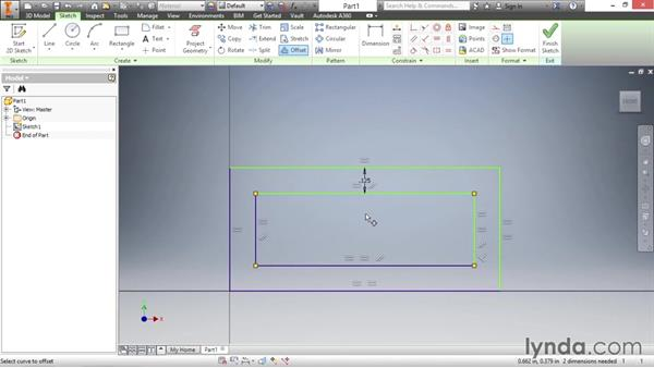 Offsetting sketch geometry: Inventor 2016 Essential Training