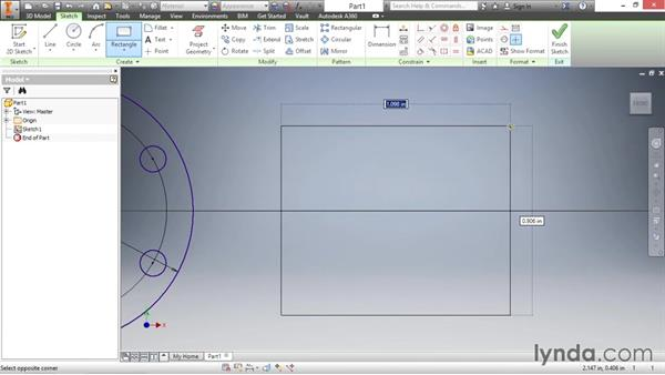 Pattern and mirror sketch geometry: Inventor 2016 Essential Training